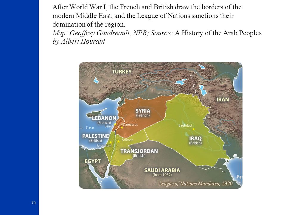 After World War I, the French and British draw the borders of the modern Middle East, and the League of Nations sanctions their domination of the region.