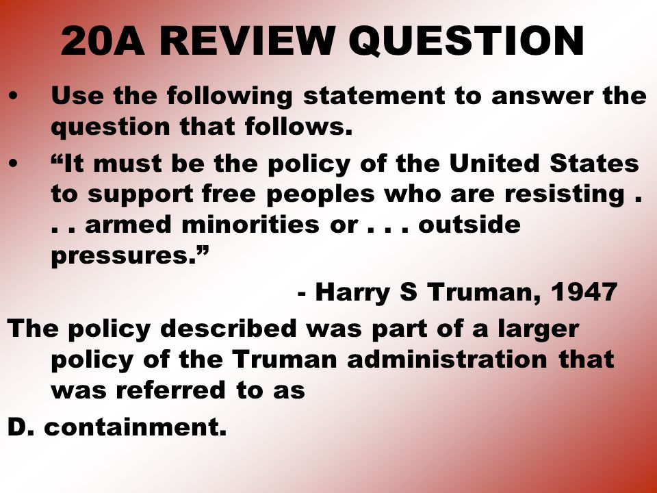 20A REVIEW QUESTION Use the following statement to answer the question that follows.