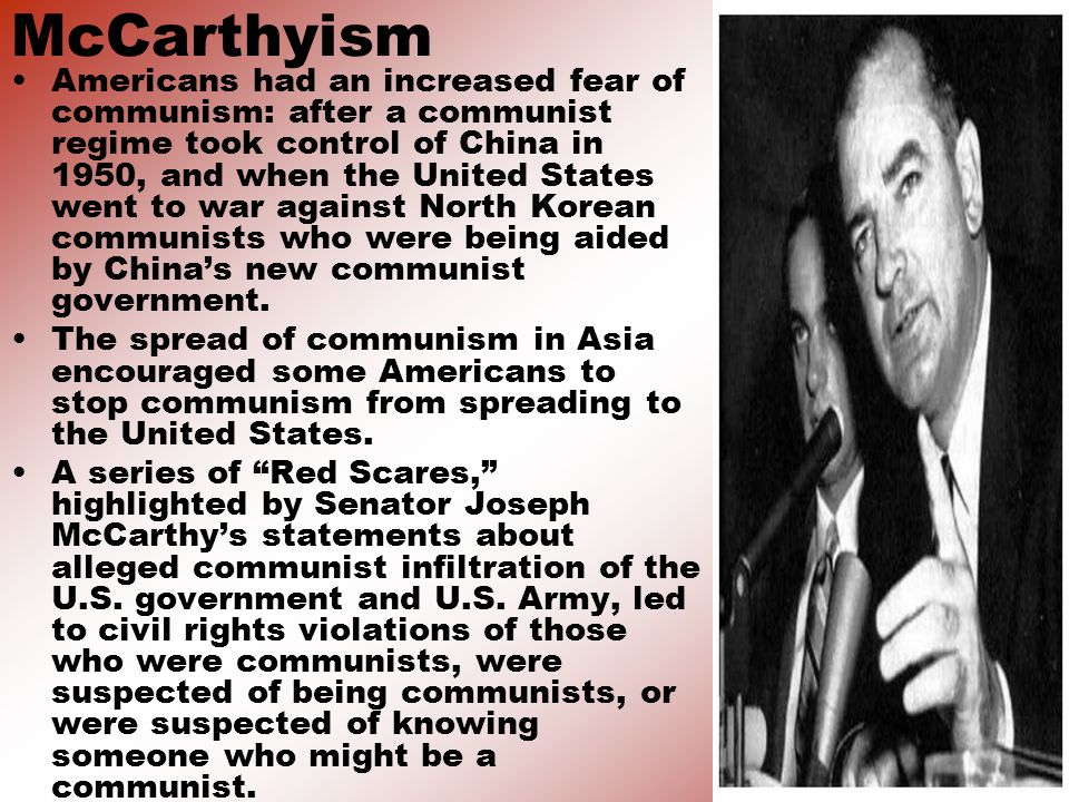 a history of mccarthyism in the united states Get this from a library mccarthyism and the communist scare in united states history [karen zeinert] -- in february 1950, senator joseph mccarthy made an extraordinary speech in wheeling, west virginia.