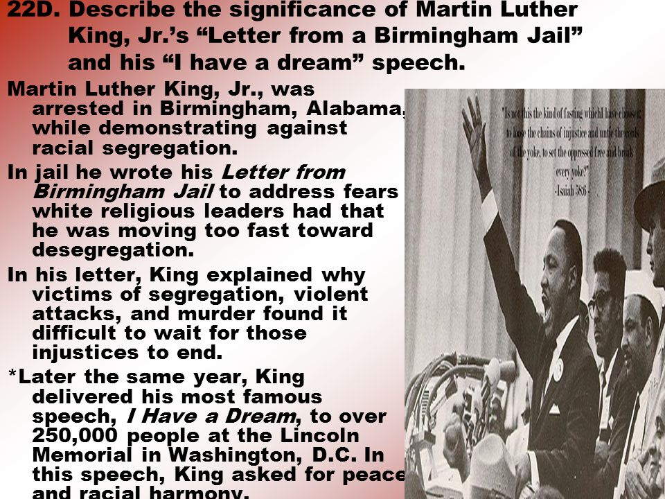 22D. Describe the significance of Martin Luther King, Jr
