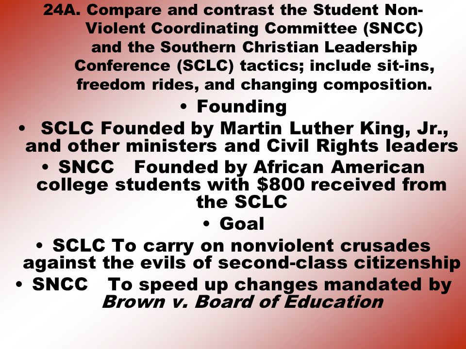 SNCC To speed up changes mandated by Brown v. Board of Education