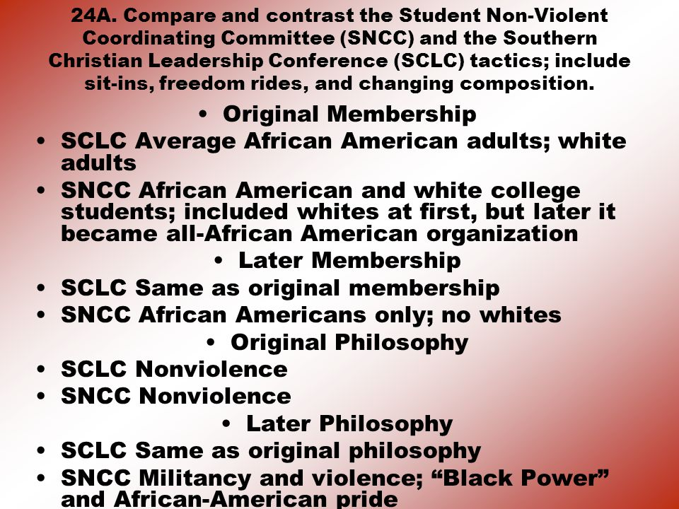 SCLC Average African American adults; white adults