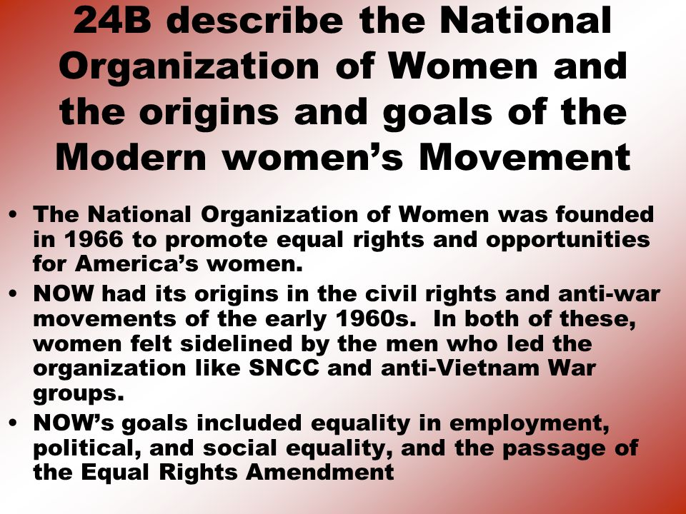 24B describe the National Organization of Women and the origins and goals of the Modern women's Movement