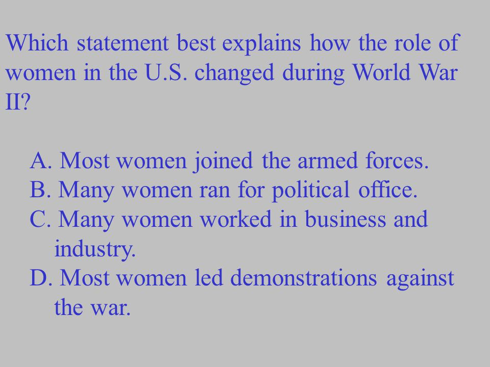 Which statement best explains how the role of women in the U. S