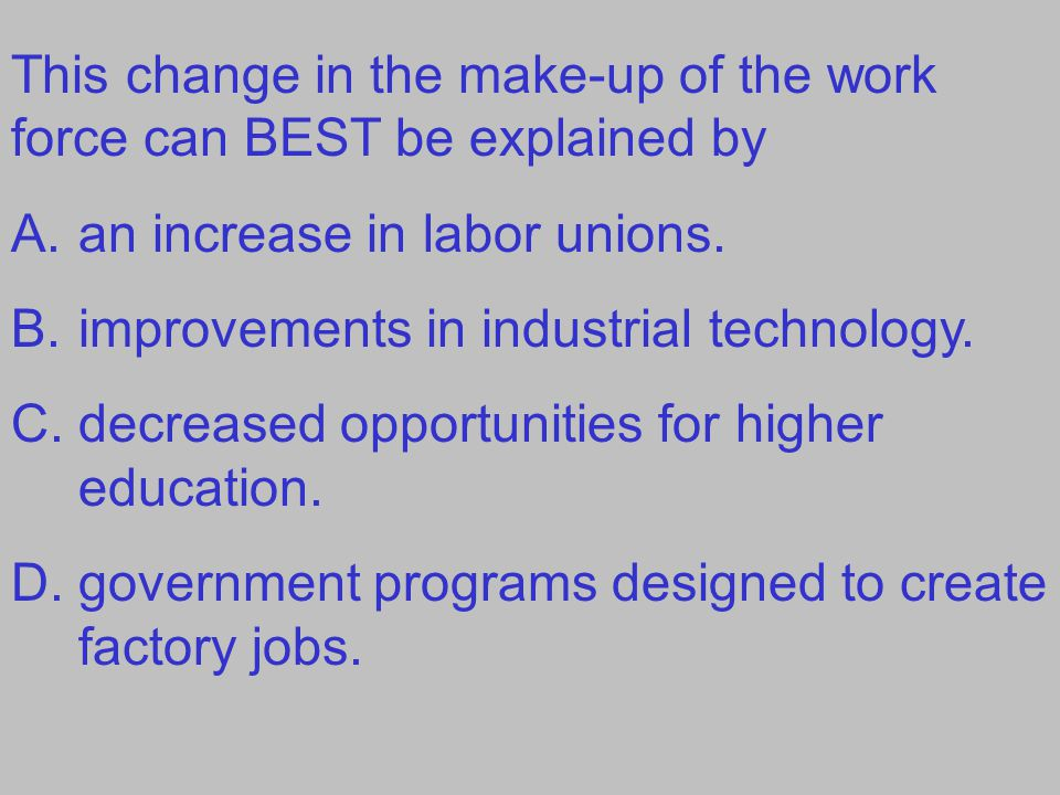 This change in the make-up of the work force can BEST be explained by