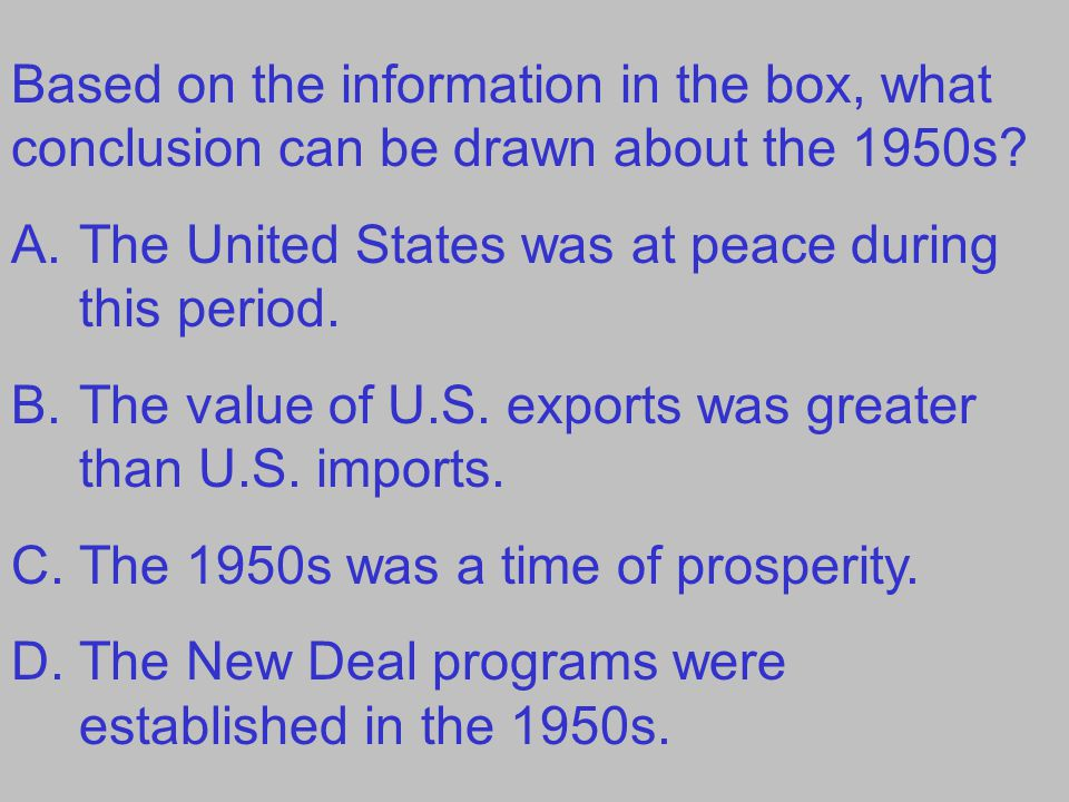 Based on the information in the box, what conclusion can be drawn about the 1950s