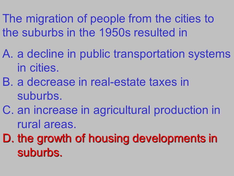 The migration of people from the cities to the suburbs in the 1950s resulted in