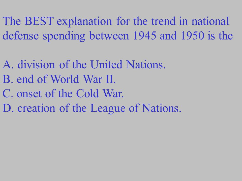 The BEST explanation for the trend in national defense spending between 1945 and 1950 is the