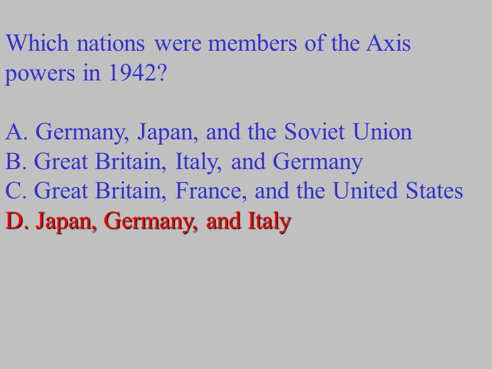 Which nations were members of the Axis powers in 1942