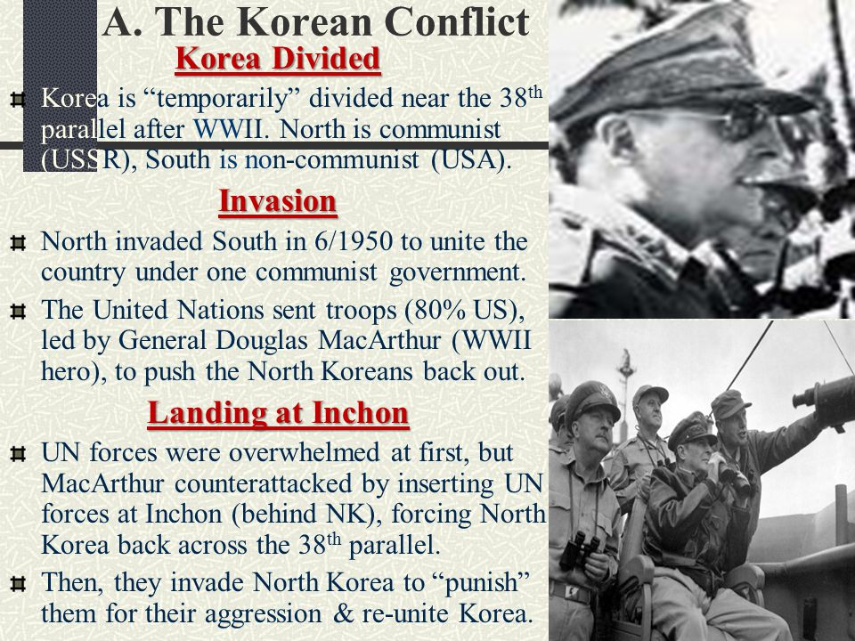 A. The Korean Conflict Korea Divided Invasion Landing at Inchon
