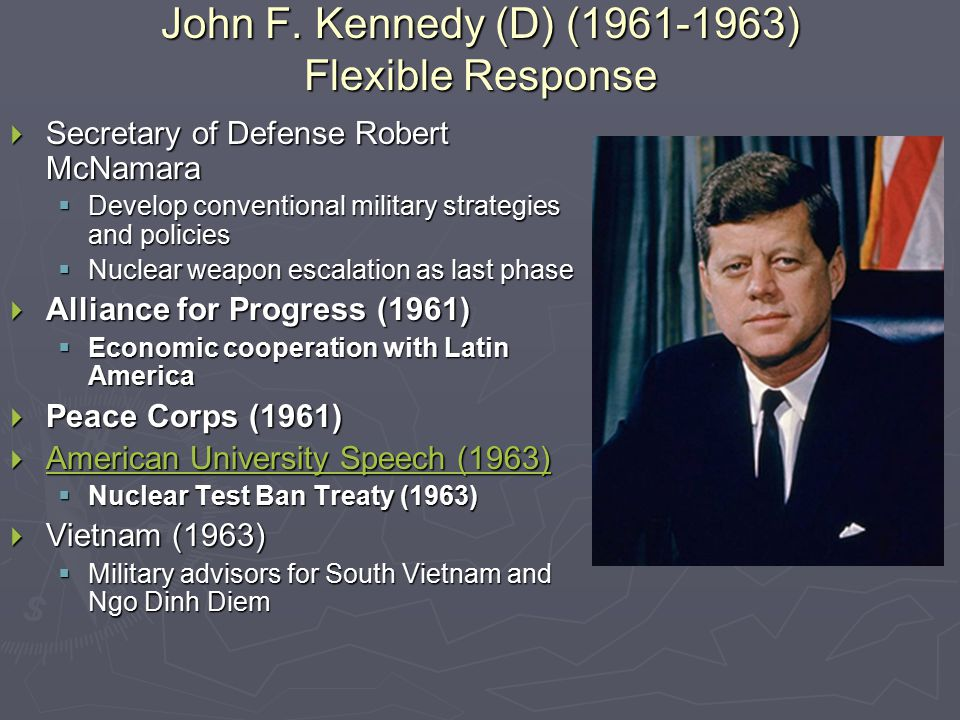 John F. Kennedy (D) (1961-1963) Flexible Response