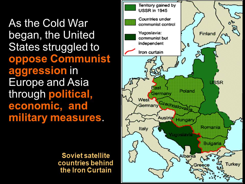 Soviet satellite countries behind the Iron Curtain