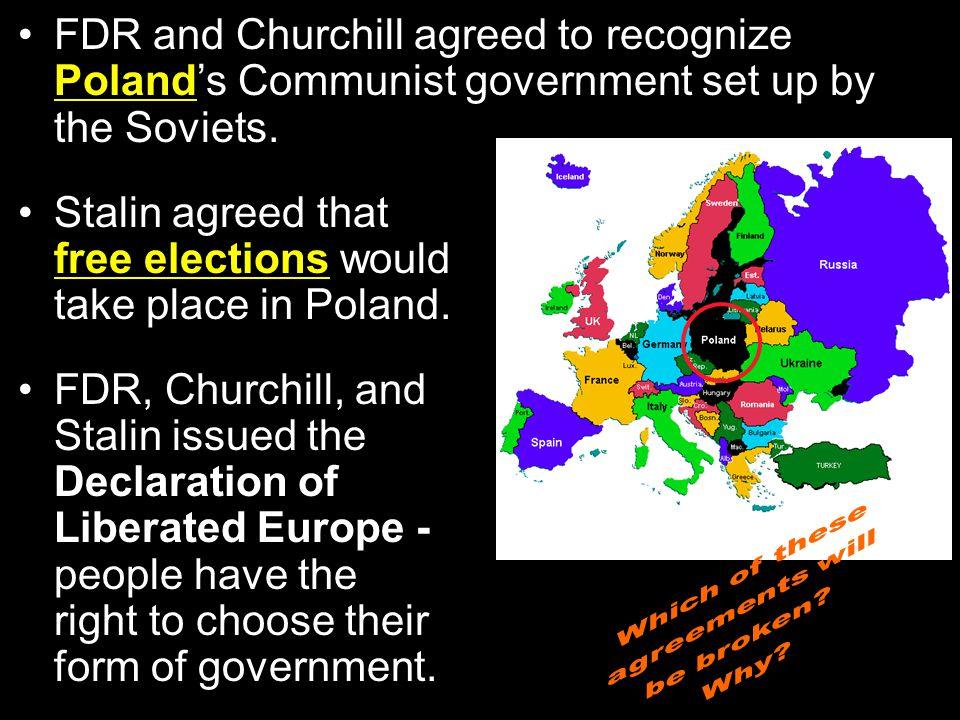 Stalin agreed that free elections would take place in Poland.