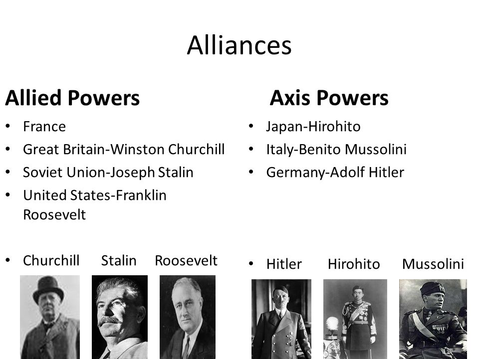 Alliances Allied Powers Axis Powers France