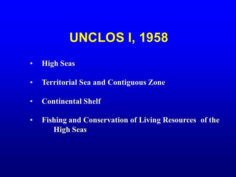 UNCLOS I, 1958 High Seas Territorial Sea and Contiguous Zone