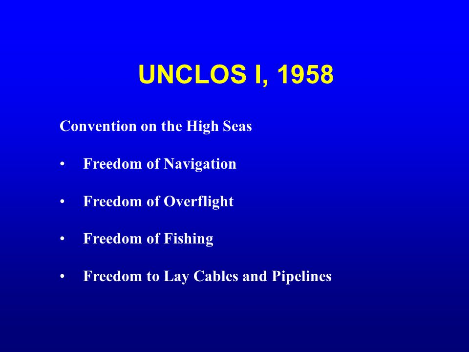 UNCLOS I, 1958 Convention on the High Seas Freedom of Navigation
