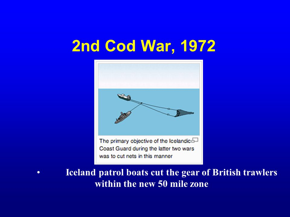 2nd Cod War, 1972 Iceland patrol boats cut the gear of British trawlers. within the new 50 mile zone.