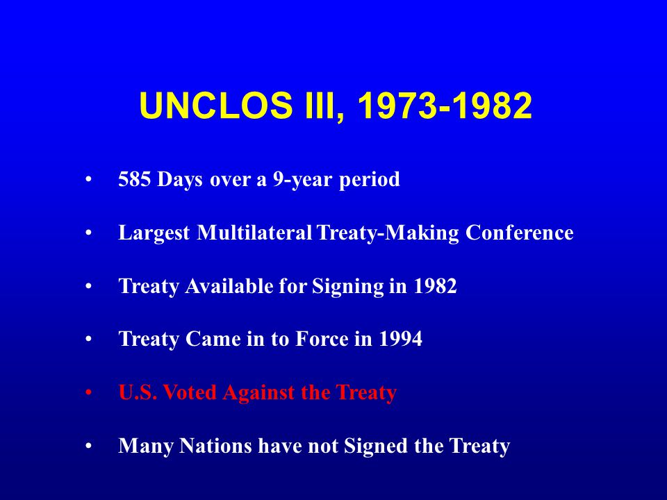 UNCLOS III, 1973-1982 585 Days over a 9-year period