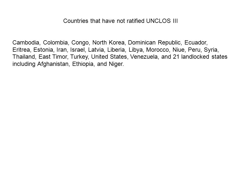 Countries that have not ratified UNCLOS III