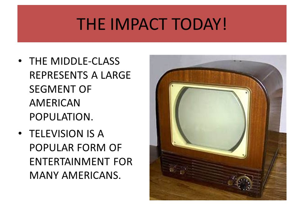 THE IMPACT TODAY! THE MIDDLE-CLASS REPRESENTS A LARGE SEGMENT OF AMERICAN POPULATION.