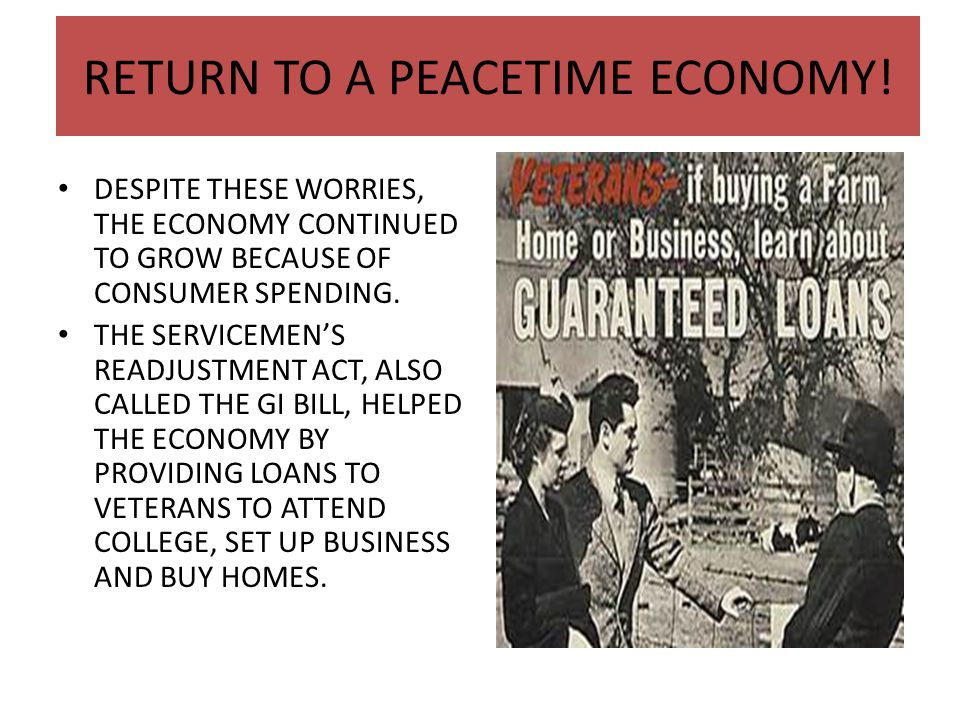 RETURN TO A PEACETIME ECONOMY!
