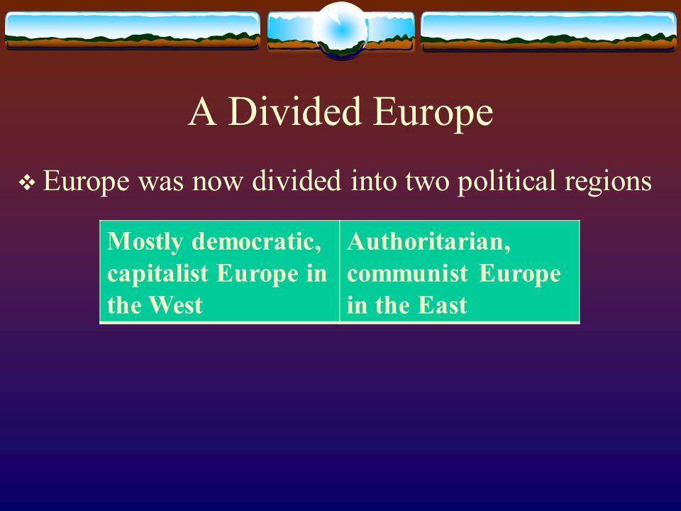 A Divided Europe Europe was now divided into two political regions
