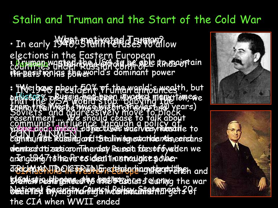 Stalin and Truman and the Start of the Cold War