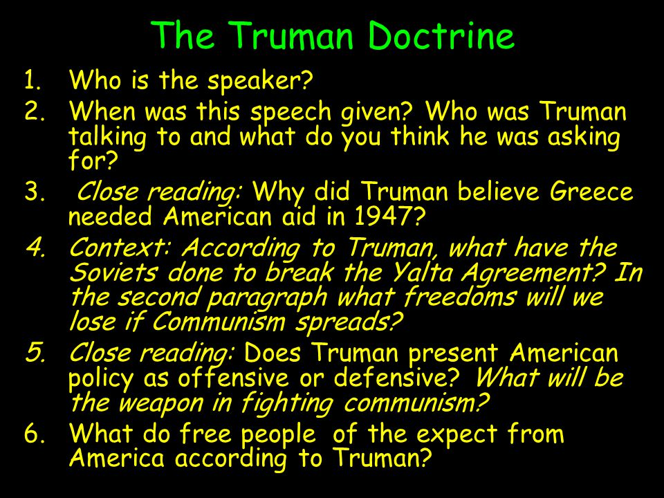 The Truman Doctrine Who is the speaker
