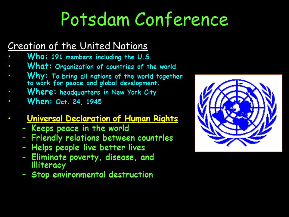 Potsdam Conference Creation of the United Nations