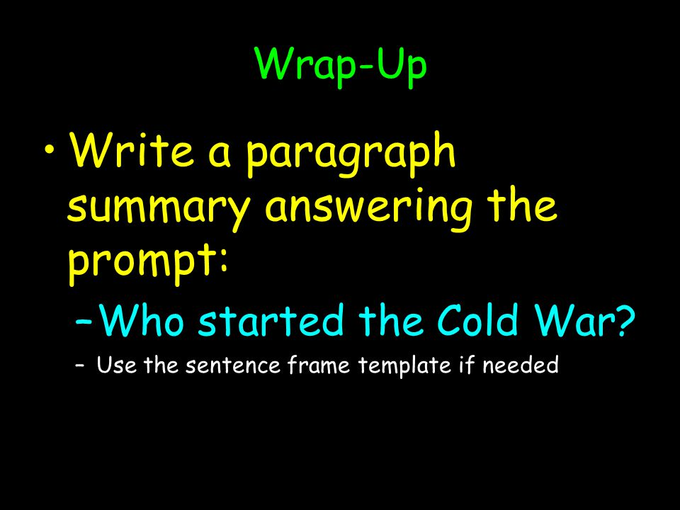 Write a paragraph summary answering the prompt: