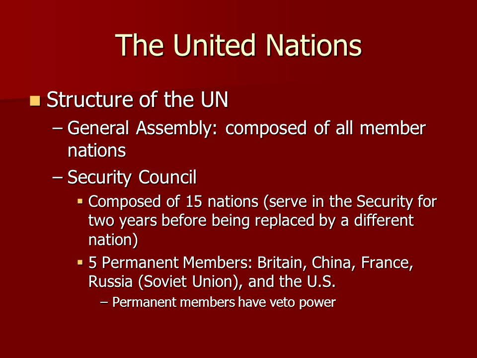 The United Nations Structure of the UN
