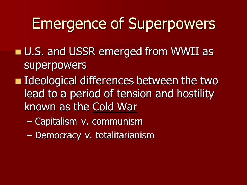 Emergence of Superpowers