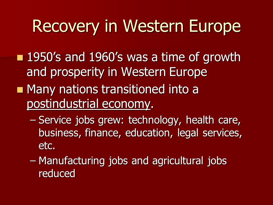 Recovery in Western Europe
