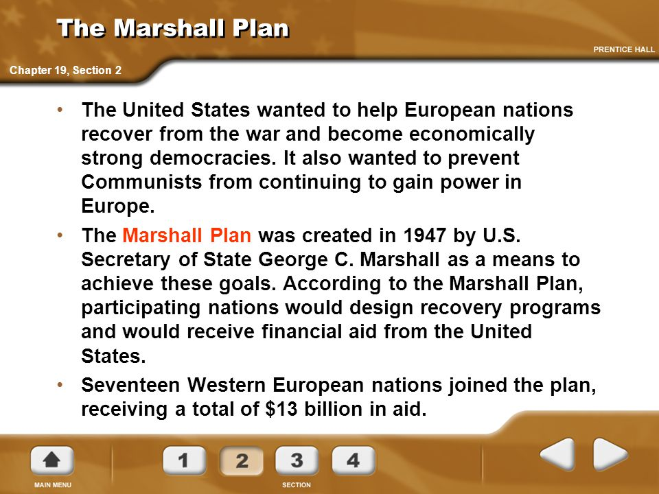The Marshall Plan Chapter 19, Section 2.