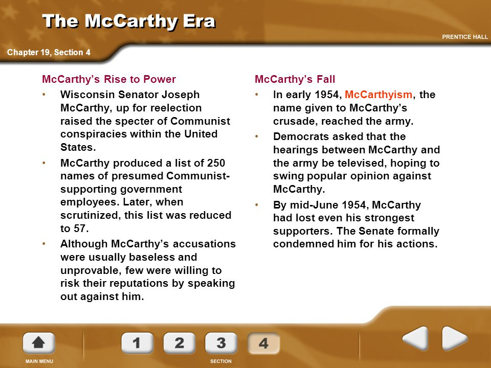 The McCarthy Era McCarthy's Rise to Power