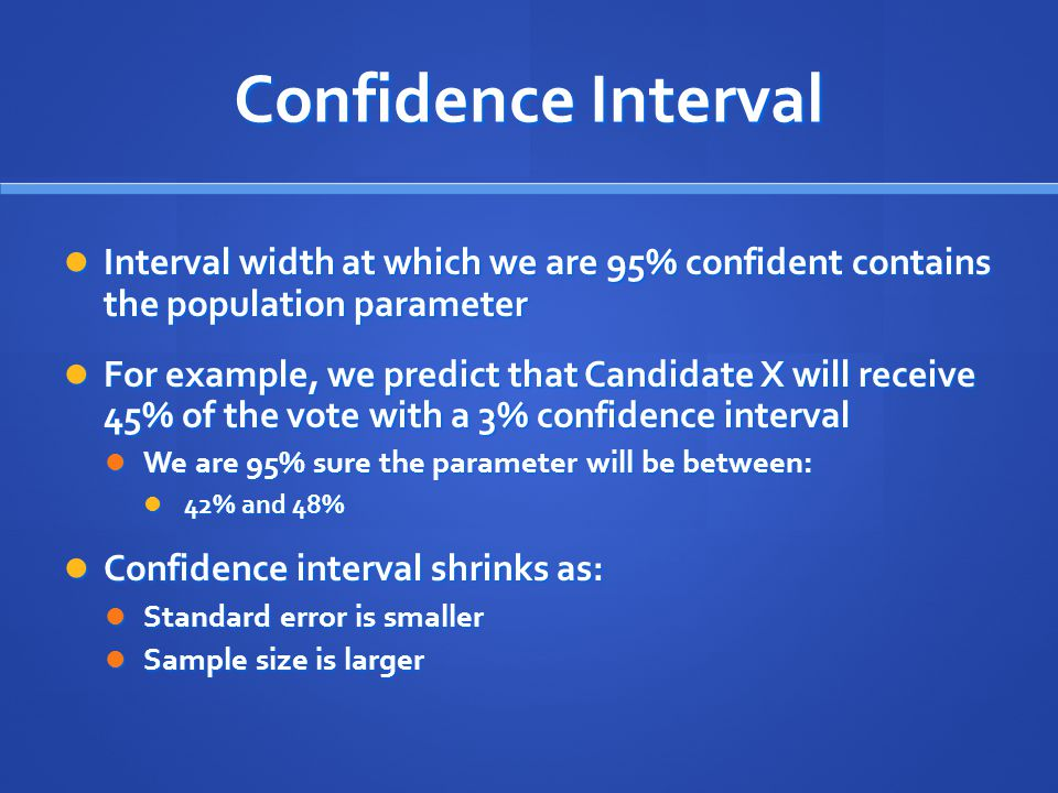 Confidence Interval Interval width at which we are 95% confident contains the population parameter.