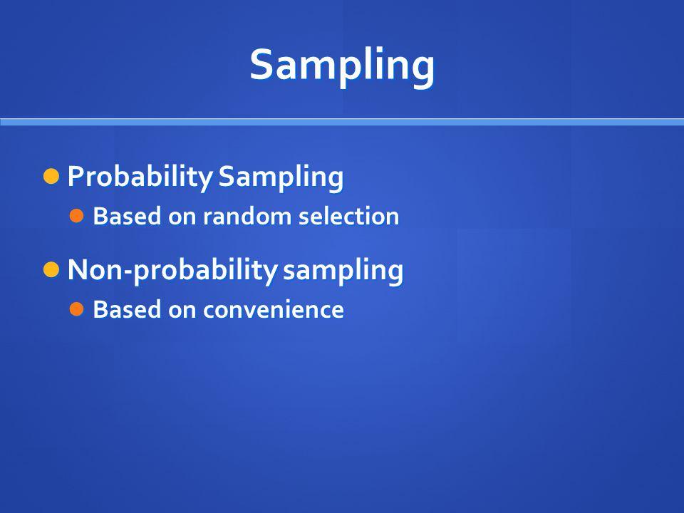 Sampling Probability Sampling Non-probability sampling