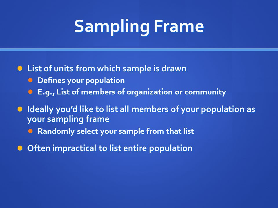 Sampling Frame List of units from which sample is drawn