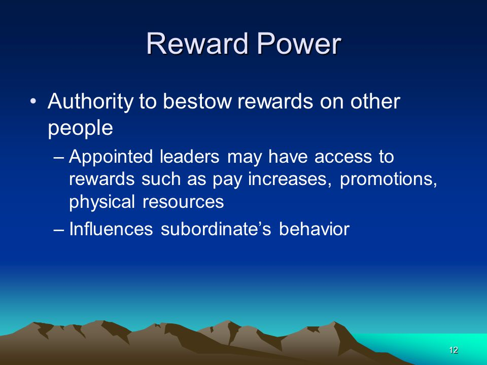 Reward Power Authority to bestow rewards on other people