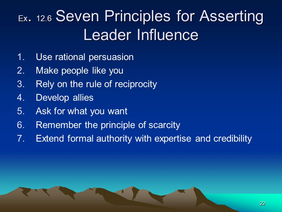 Ex. 12.6 Seven Principles for Asserting Leader Influence