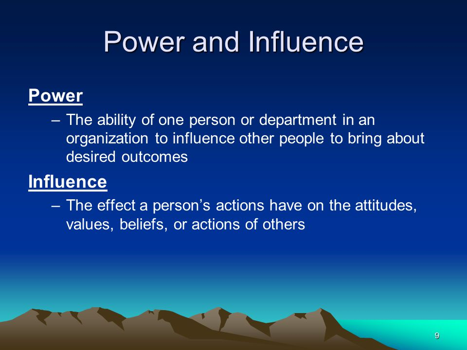 power and influence in terms of