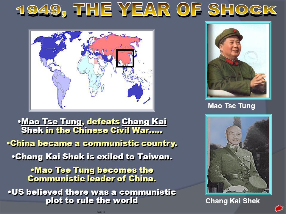 1949, THE YEAR OF SHOCK Mao Tse Tung. Mao Tse Tung, defeats Chang Kai Shek in the Chinese Civil War…..