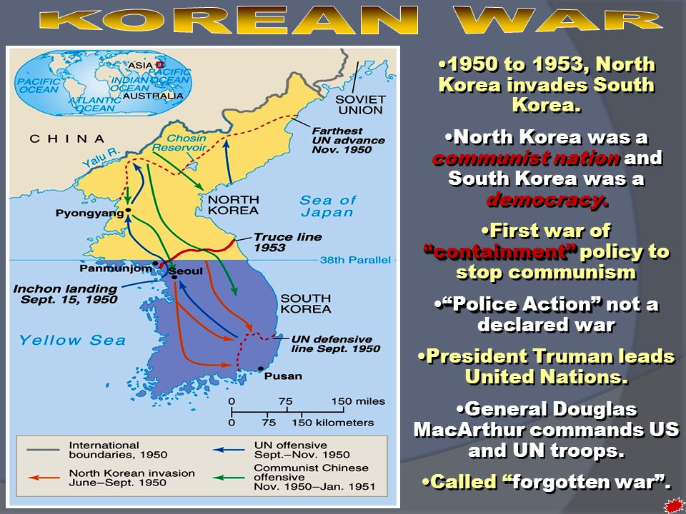 KOREAN WAR 1950 to 1953, North Korea invades South Korea.
