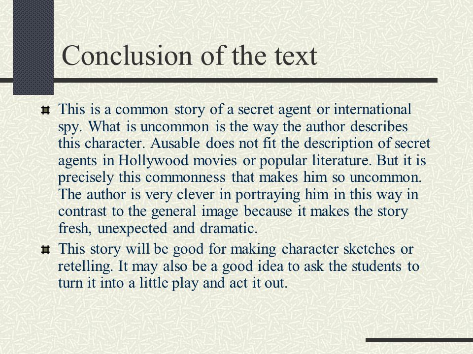 Conclusion of the text