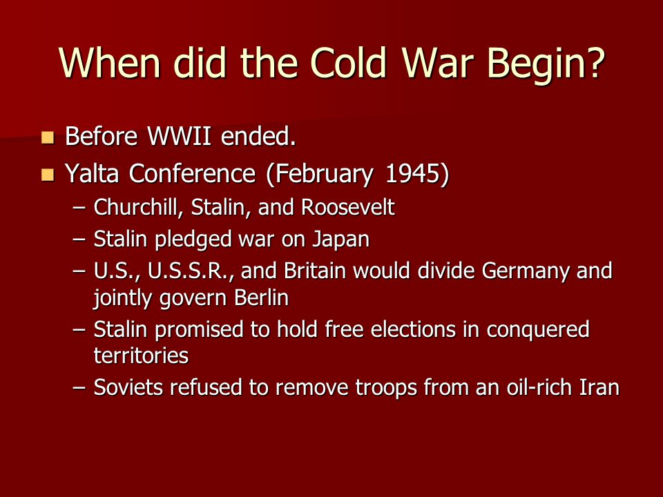 When did the Cold War Begin