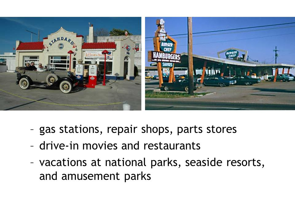 gas stations, repair shops, parts stores