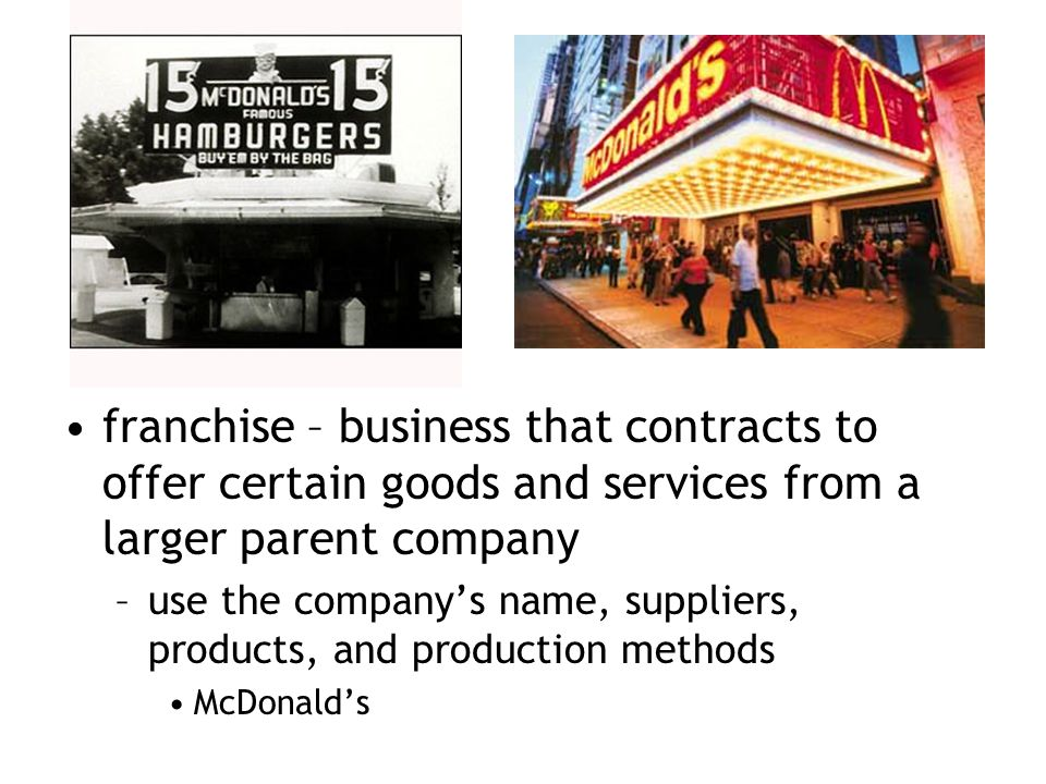 franchise – business that contracts to offer certain goods and services from a larger parent company