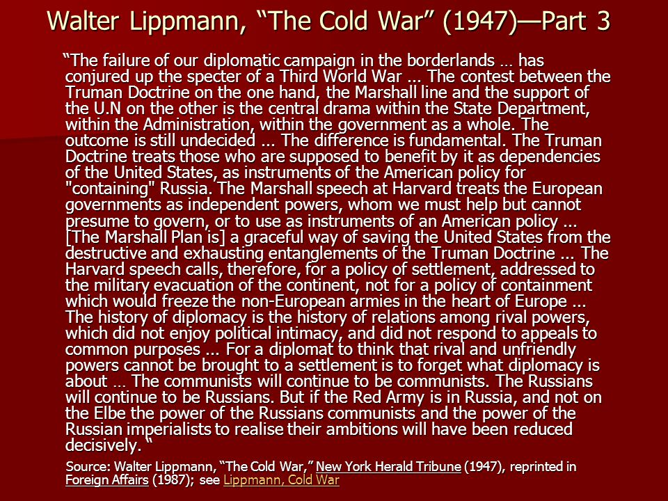 Walter Lippmann, The Cold War (1947)—Part 3