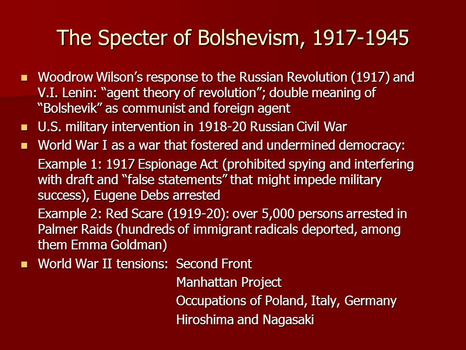 The Specter of Bolshevism, 1917-1945