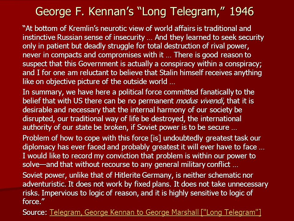 George F. Kennan's Long Telegram, 1946